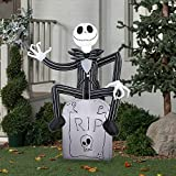 Halloween Inflatable Outdoor Scarecrow A Nightmare Before Christmas Jack Skellington On Tombstone Decoration Gemmy Airblow Inflatable 5 x 3.5