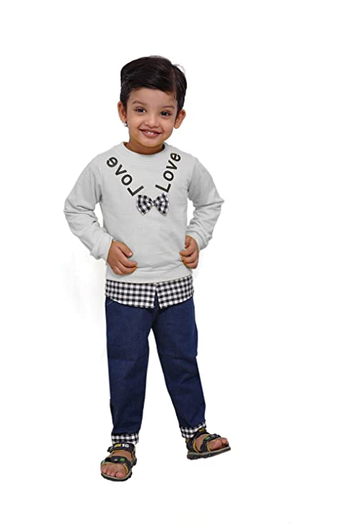 Buy Ragazzo Baby Boy S Bow T Shirt And Jeans 1 To 2 Years White At Amazon In