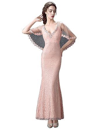 BessDress Womens Deep V-neck Prom Dresses Mermaid Evening Party Dresses BD031