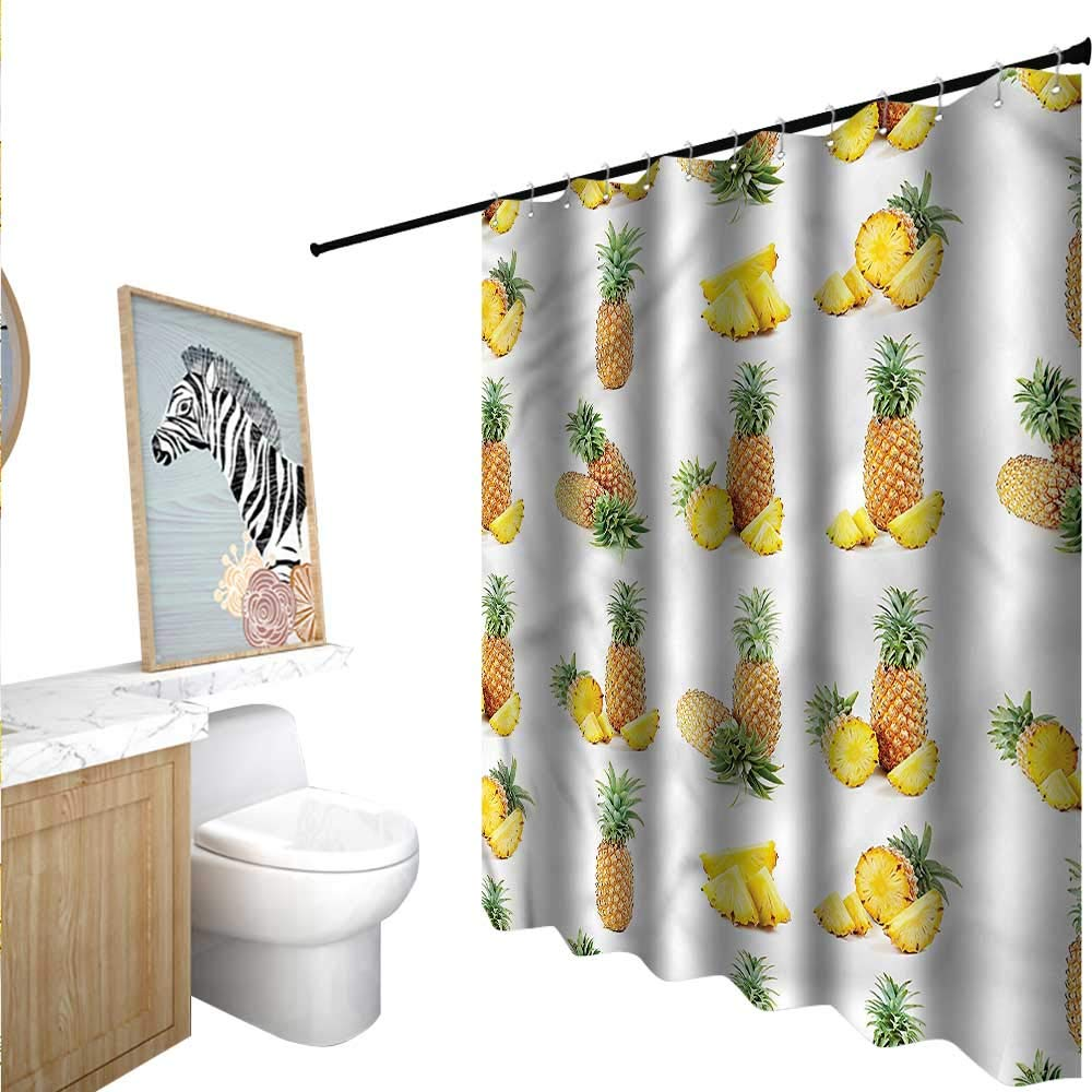 "BlountDecor Pineapple Shower Curtains Mildew Resistant Ripe Fruit Pieces Slices 84""x72"",Suitable for Bathroom, Send Hook"