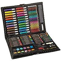 El juego de arte de lujo Darice de 120 piezas - Materiales de arte para dibujar, pintar y más en una caja de plástico - hace un gran regalo para niños y adultos