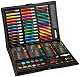 Darice 120-Piece Deluxe Art Set – Art Supplies for Drawing, Painting and More in a Plastic Case - Makes a Great Gift for Children and Adults