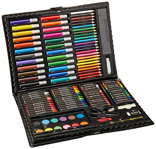 (Darice 120-Piece Deluxe Art Set - Art Supplies for Drawing, Painting and More in a Plastic Case - Makes a Great Gift for Children and)