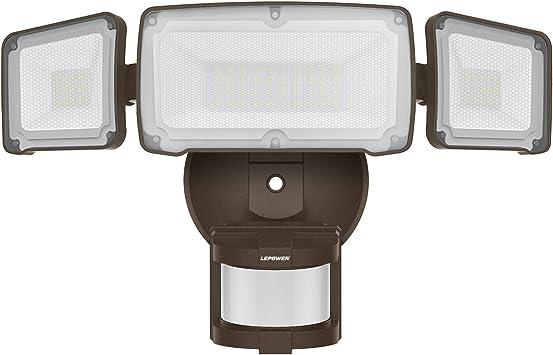 LEPOWER 35W LED Security Lights Motion Sensor Light Outdoor, 3500LM Motion Security Light, 5500K, IP65 Waterproof, 3 Head Motion Detected Flood Light for Garage, Yard, Entryways (Brown)