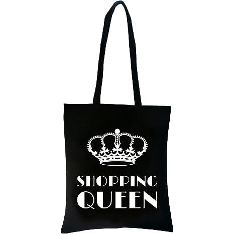 87e5e1eb9428a PREMYO Einkaufstasche Jutebeutel Bedruckt mit Spruch Motiv Shopping Queen  Baumwolle Lange Henkel Umhänge-Beutel Shopper