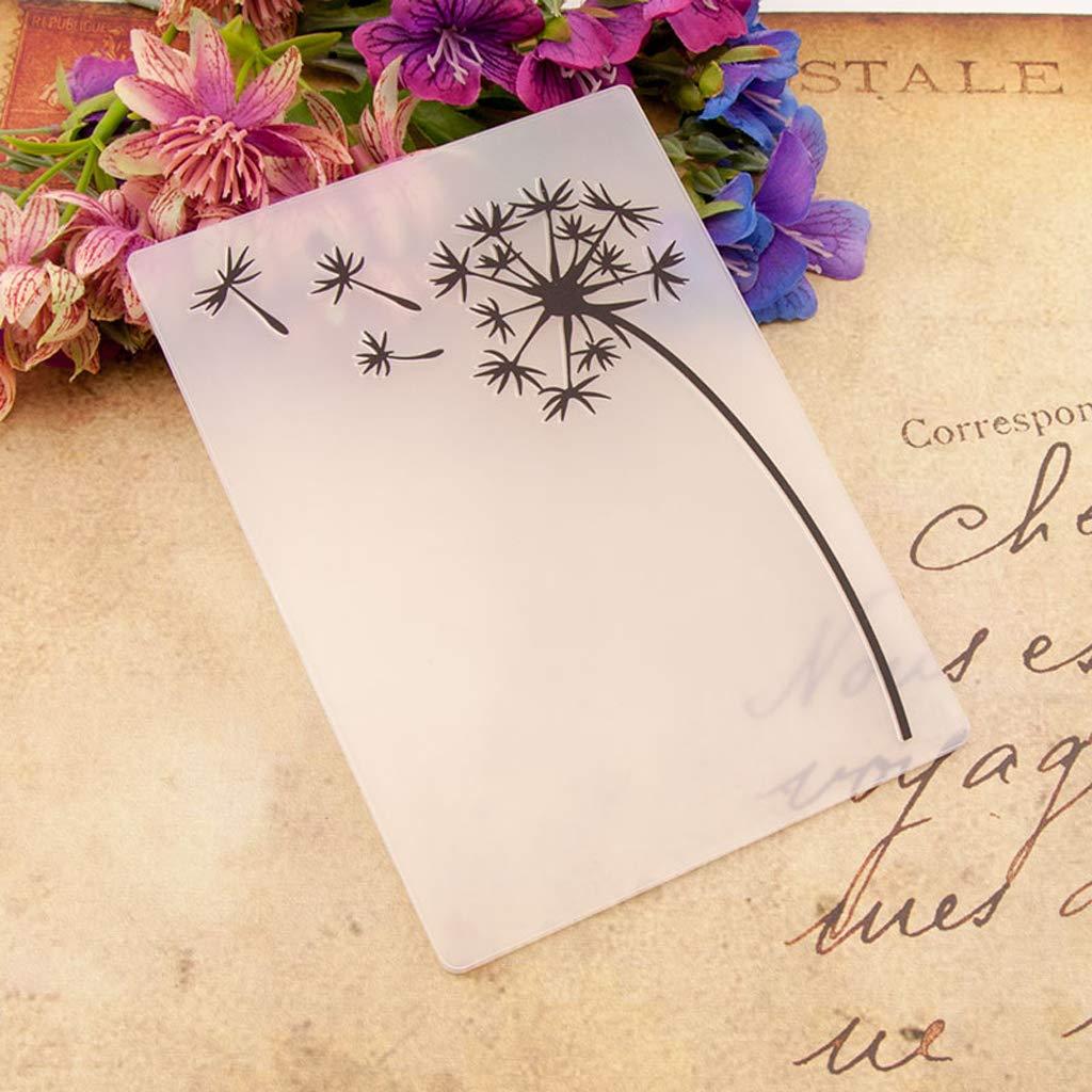 puhoon Plastic Embossing Folder Template DIY Scrapbook Photo Album Card Making Decoration Craft Dandelion
