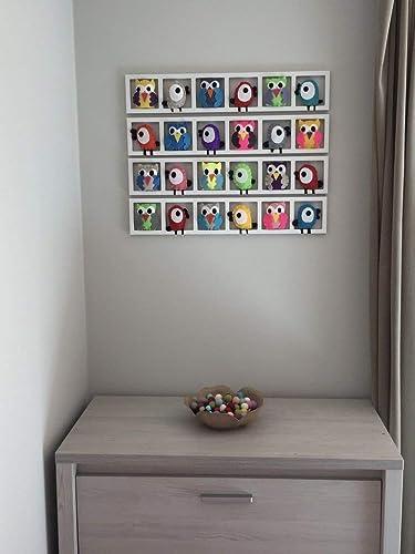 Cadre décoratif pour chambre bébé - figurines oiseaux hiboux colorés ...