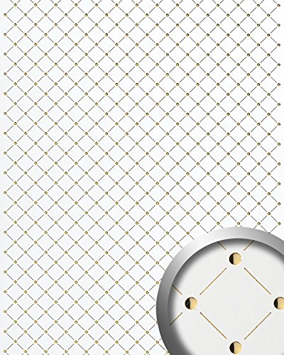 WallFace 17856 3D Wall panel self-adhesive Mosaic decor Luxury wallcovering self-adhesive pearlwhite gold | 2,60 sqm by Wallface (Image #1)