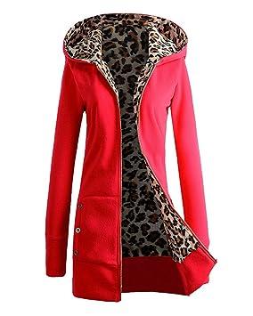 Otoño Invierno Sudadera con Capucha Abrigo Chaqueta Larga Casual Cremallera para Mujer Rojo XL: Amazon.es: Deportes y aire libre