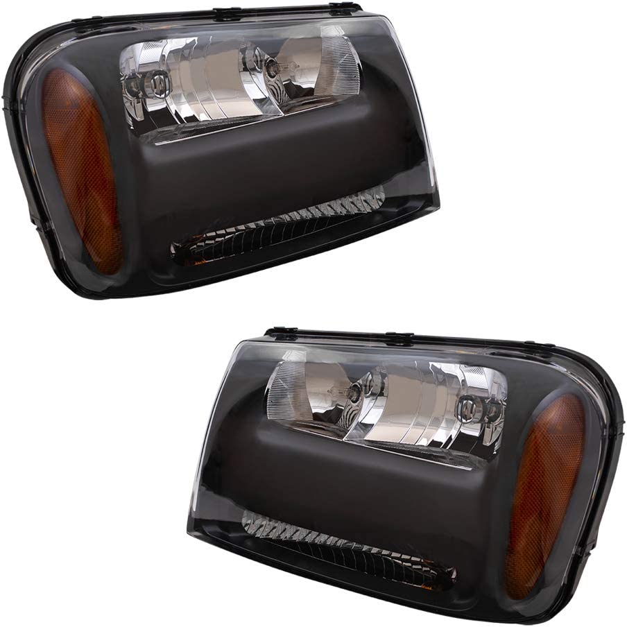 Replacement Driver and Passenger Set Headlights Compatible with 06-09 Trailblazer & 06 EXT with 1/2 Width Grille Bar