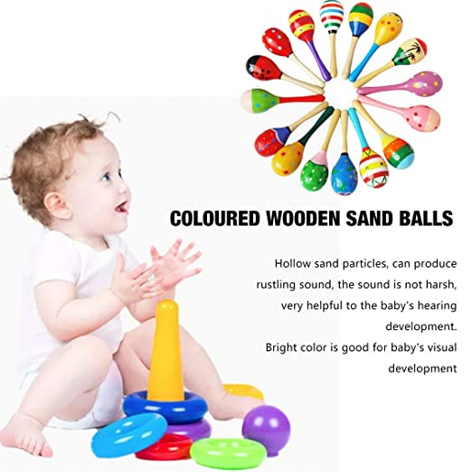 Home Colorful Small Maracas Wooden Hammer Cartoon Sand Ball Knock Wooden Bell Baby Educational Toys