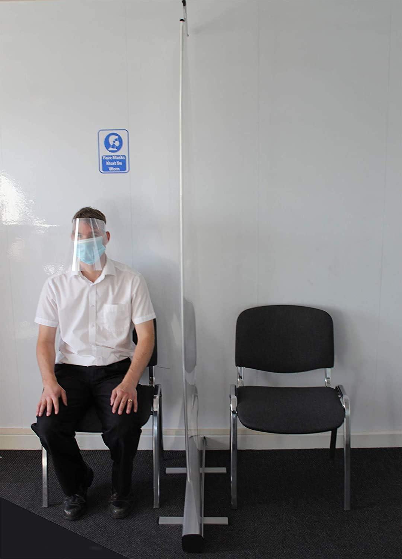 QIYE 100 * 200Cm Transparent Roll Up Banner Germ Protection Screen Partition Screen Spit Protection Sneeze Guard Social Distancing Shield