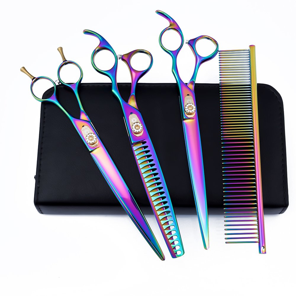 (1 Set) Dream Reach 20cm Professional Japan 440C Pet Grooming Coated Titanium Scissors Set,Dog Straight Shear, Chunker & Curved Shear Scissors with Pet Comb and Bag