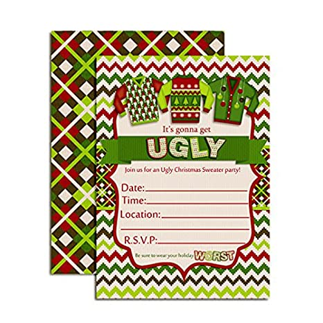 Amazon Com Ugly Christmas Sweater Party Invitations 20 5 X7 Fill