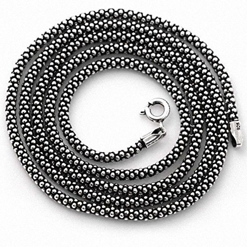 (Oxidized 2.8MM 925 Sterling Silver Popcorn Chain Necklace 24)