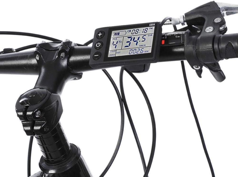 Scooter Kit de Controlador de Motor Sin Cepillo Coche Keenso Controlador y LCD Montado en Manillar de 22.5 mm 24V-48V LCD Impermeable para E-Bike
