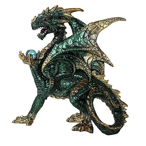Pacific Giftware Green Dragon Guardian of The Mystical Orb Relic Collectible Figurine Fantasy Dungeons and Dragons ()
