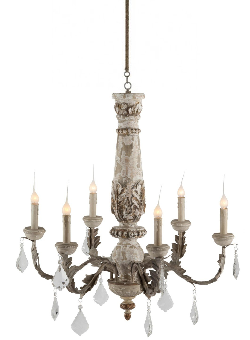 BAUDIN FRENCH COUNTRY RUSTIC CRYSTAL GRAY 6 LIGHT CHANDELIER