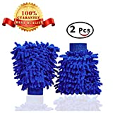 #3: Car Wash Mitts Waxing Polish Wax Foam Sponge - Automobile Detailing Gloves - Premium Chenille Microfiber Duster Cleaning Cloth Kit,Car Care Equipment,Towels Accessories