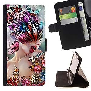 Momo Phone Case / Flip Funda de Cuero Case Cover - Arte Lick Mujer Mariposa de Primavera Resumen - Sony Xperia M2