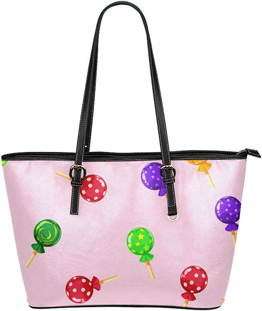 Fashion Handbag Sweet Snack Colorful Round Lollipop Leather Hand Totes Bag Causal Handbags Zipped Shoulder Organizer For Lady Girls Womens Teacher Tote