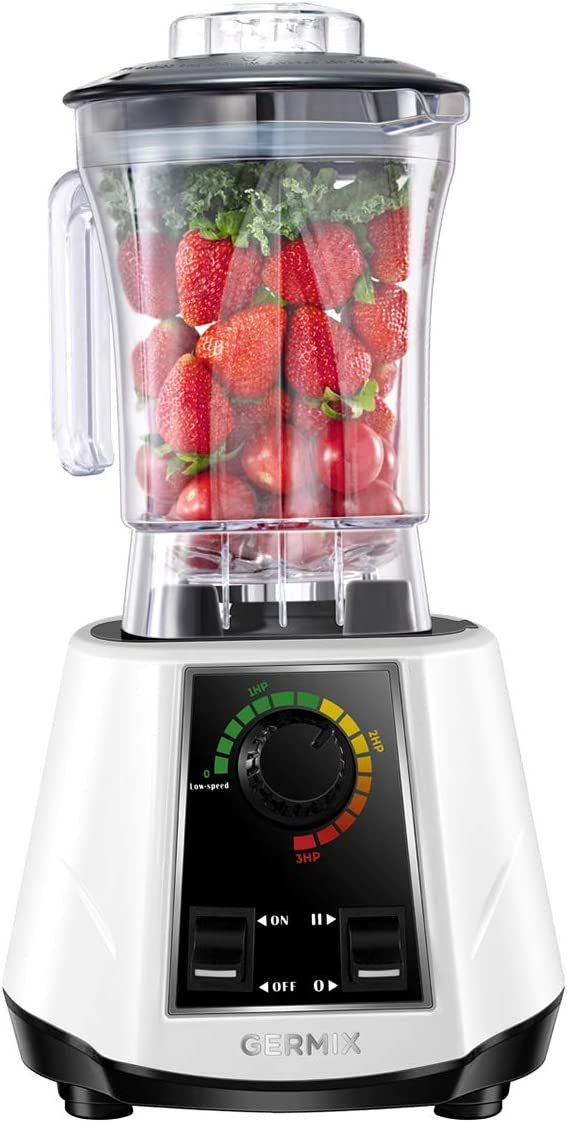 Countertop Blender, G Germix 1800w Countertop Blender with 10 Speeds Control Base, Kitchen Blender for Shakes and Smoothies with 64oz BPA Free Tritan Container for Blend, Chop and Grind - White