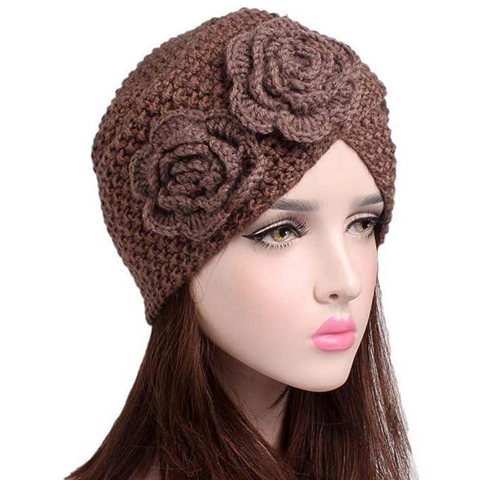 1565d491ccb3 Ssowun Bonnet Femme Rétro Chapeau Tricot Fleur Beanie Printemps Hiver  Chaude Chapeaux Turban Indien  Amazon.fr  Sports et Loisirs