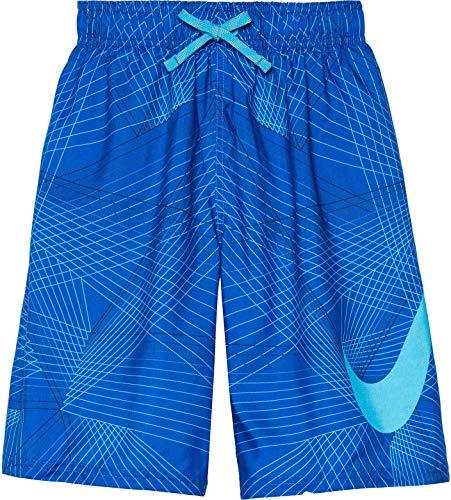 NIKE Boys Flywire Line Swoosh Breaker Swim Trunks (Hyper Royal, - Nike Boys Swim Trunks