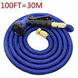 Hulorry Garden Hose Expandable,Flexible Hose 100FT Magic For Car Water Gardening Watering Brass Connector 8-pattern Nozzle for Watering Plants,Showering Pets,Cleaning Patio,Cleaning Car
