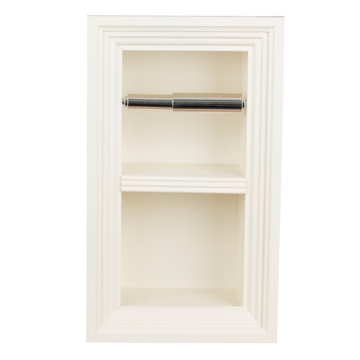 Florida Breeze Cabinets Zephyr Recessed Toilet Paper Holder with Spare Roll, Antique White