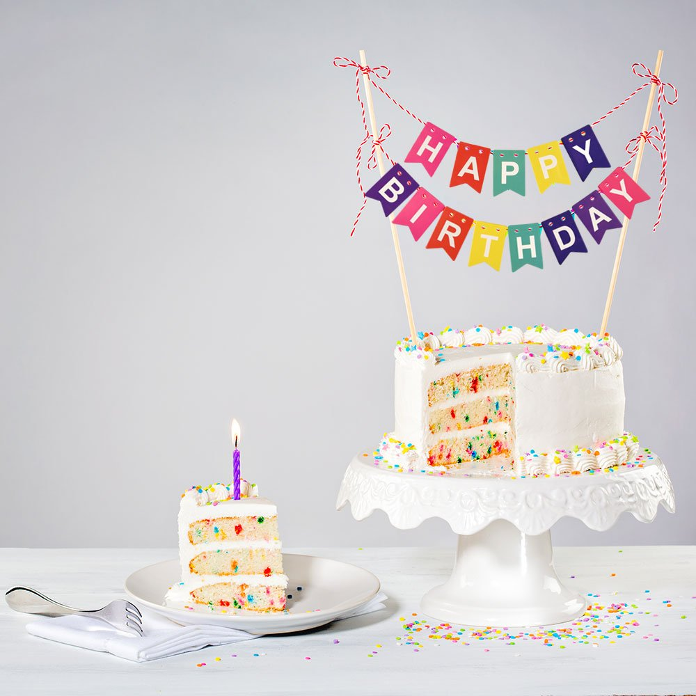 Fepito Rainbow Happy Birthday Cake Bunting Topper And Gold Star