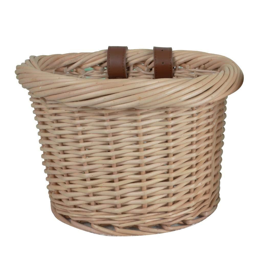 Beimaiji Fahrradkorb für draußen, natürliche Weide, Handgeflochtener Korb mit authentischen Lederriemen für Frauen Jungen, Grill, Haushalt Aufbewahrungskorb, Rattan, umweltfreundlich