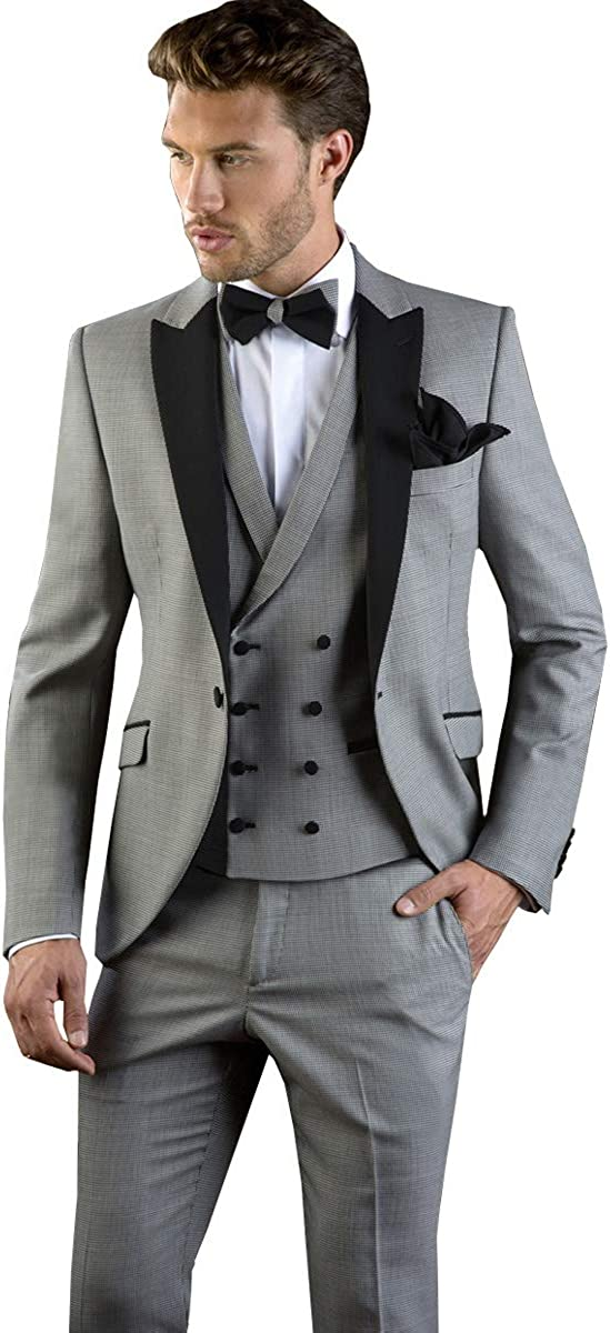 Mens 3 Pieces Suit Classic Slim Fit Notched Solid Tuxedos Blazer Groomman for Wedding Blazer+Vest+Pants