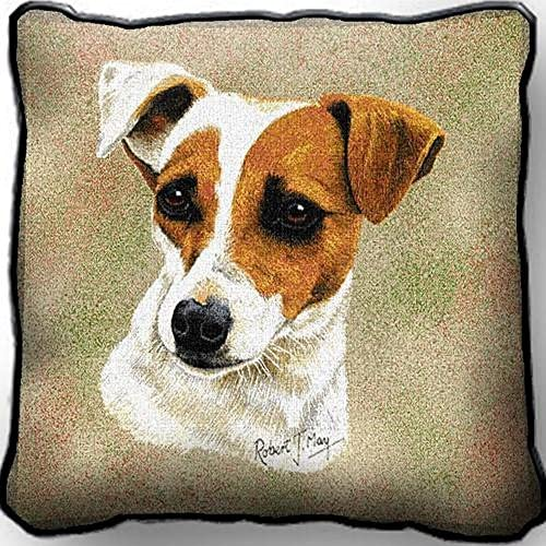 Jack Russell Terrier Pillow. 17 inches wide by 17 inches tall, and is woven from 100 cotton.