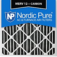 Nordic Pure 20x20x4 (3-5/8 Actual Depth) Pleated MERV 12 Plus Carbon AC Furnace Air Filters, Box of 6