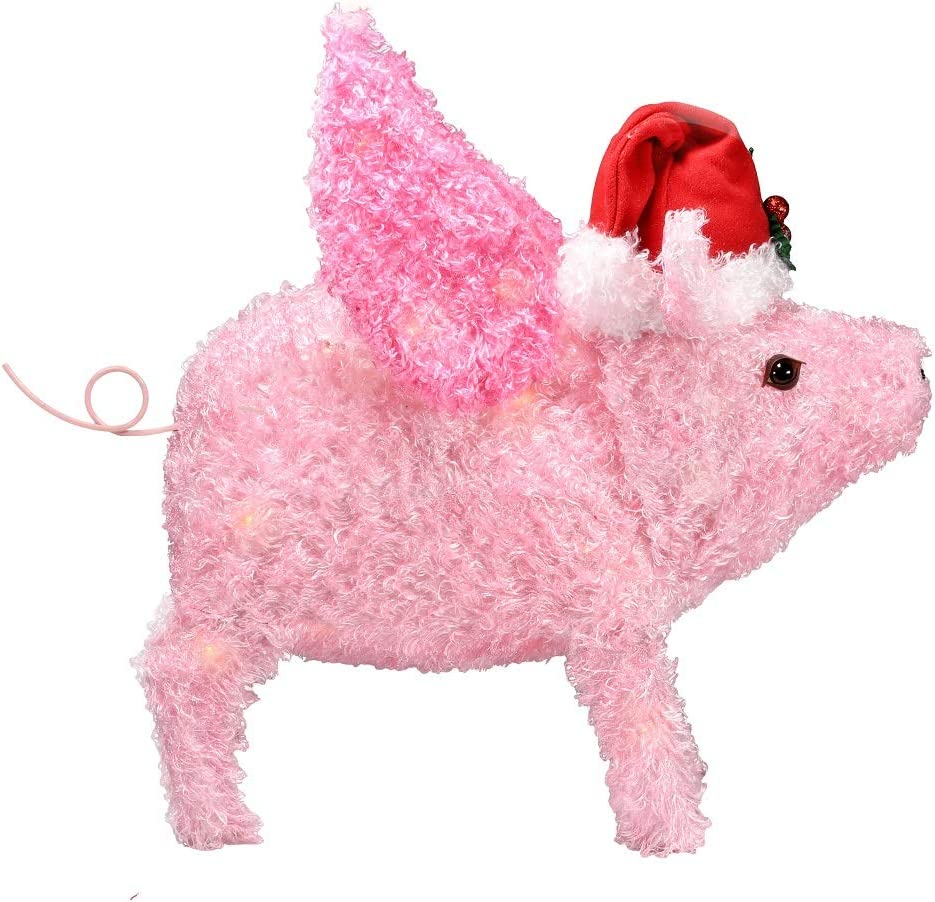 Amazon.com: Decoración navideña para patio de cerdo volador ...