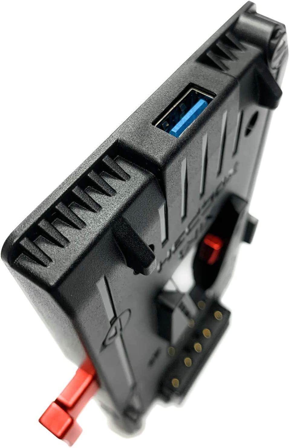 V Mount//Lock Battery Adapter Plate with 1x USB 5V//2.1A and 3X D-Tap 14.8V//148W Power HEDBOX Extra 20in//50cm Breakaway Cable with pro 2-pin Push FGG.0B.302 Angle Connector for Teradek UNIX-0BL