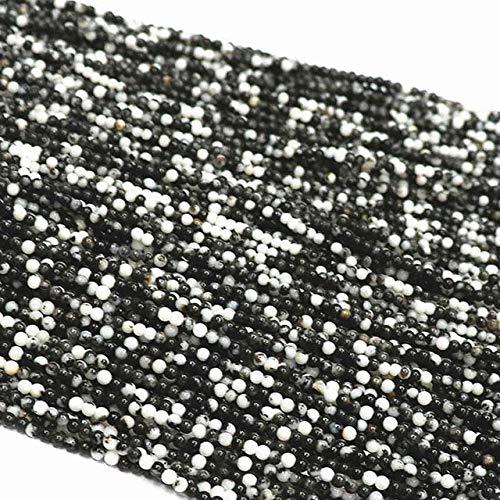 Calvas 15 Style Natural Stone 2mm Round Fluorite Carnelian Onyx Chalcedony Dalmation Sandstone Opal spacers Beads Jewelry 15inch B402 - (Color: Balck White Zebra)