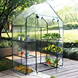 New Mini Walk-in Greenhouse Portable Flower Garden, With Clear PVC Cover, Strong Metal Frame, 3 Tiers 6 Shelves, Size 56''W x 29''D x 77''H