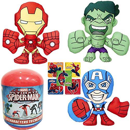 Toys Capsule Figure Action (AYB Products Super Heroes Plush Adventures Marvel Hulk / Captain America & Iron Man Avengers Team up + Blind Capsule Spider-Man mini Figure & Bonus Stickers)