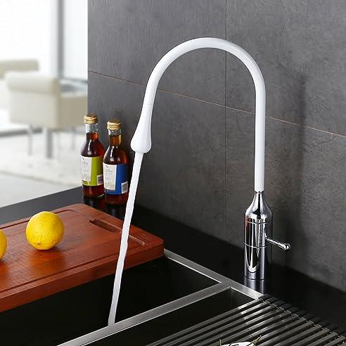 Homelody 360° schwenkbar Küchenarmatur Weiss Wasserhahn Küche mit ...