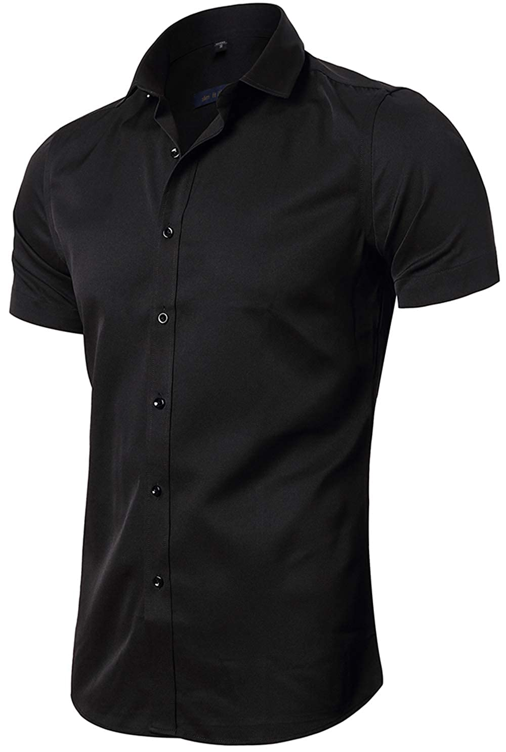 72fe1ffda67 FLY HAWK Mens Short Sleeve Dress Shirts, Slim Fit Casual Button Down Tuxedo  Work Shirt