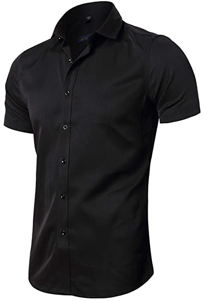 757e301bb FLY HAWK Mens Short Sleeve Dress Shirts, Slim Button Down Tuxedo Work Shirt,  Black