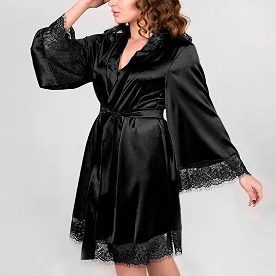 Camisón De Mujer Rojo,YiYLunneo Vestido Pijama Kimono Corto Bata de Satén Lencería Kimono del Cordón Satén Bata Albornoz Camisón Underwer Nightdress: ...