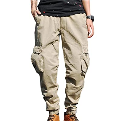 Abetteric Mens Multi Pockets Solid Colored Casual Cargo Work Pants