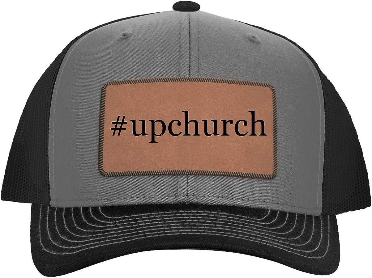 One Legging it Around #Upchurch Leather Hashtag Dark Brown Patch Engraved Trucker Hat