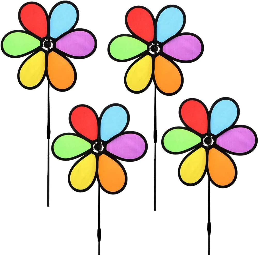 HJAA 9.4 inch Wind Spinners Flower Spinners Colorful Wind Spinners for Lawn Pinwheels Windmill Party Pinwheel Wind Spinner Yard and Garden ,4pcs