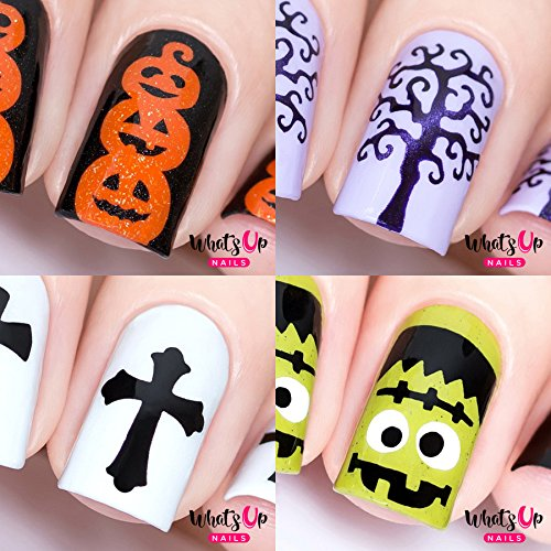 Halloween Nail Stencils 4pcs (Frankenstein's Monster, Pumpkin Topiary, Scary Tree, Gothic) -