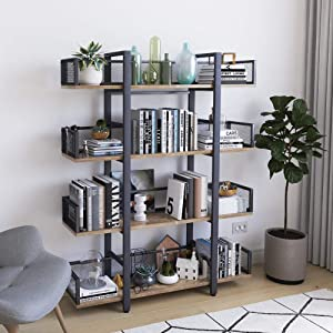 STURDIS 4 Tier Bookshelf, Solid Wood 4 Shelf Rustic Vintage Industrial Style Bookcase and Book Shelf, Metal and Wood Book Case
