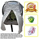 Luxurious Baby Car Seat Canopy - 100% Eco-Friendly, Velcro Opening, Custom Fit, Multipurpose Use Blanket In A Gender Neutral Design - Perfect Baby Shower Gift - With Bonus Bandanna Bib (Grey)